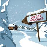 ο μπλε διακοσμημένος Βορράς διακοπών κλίσης ανασκόπησης πέρα από το εργαστήριο χιονιού εποχής santa στεγών s πόλων Στοκ Εικόνες