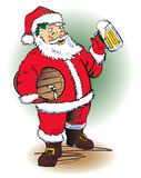 Santa's Ale. Santa Claus holding a barrel and a frosty mug of beer stock illustration