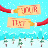 Santa's Arms Holding Signs Royalty Free Stock Image