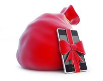 Santa's bag, gift smartphone Stock Photos