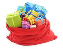 Santa`s bag of gifts. Santa`s bag of gifts on a white background stock images