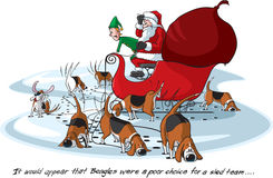 Santas Beagles Stock Photography