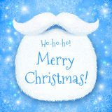 Santa's beard with Happy New Year sign on blue Royalty Free Stock Photos