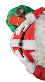 Santa's belly , bag with gifts stock photo