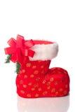 Santa's boot decorated with xmas bow Royalty Free Stock Photo