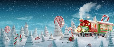 Free Santa`s Christmas Train Stock Photos - 163440403
