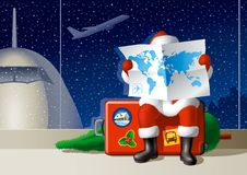 Santa's Christmas travel. Santa Claus at the airport is sitting on a suitcase and selecting a route for the Christmas travel. Vector illustration