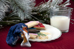 Santas cookies and milk Royalty Free Stock Photos
