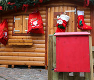 Santa's cottage with the mailbox to post the letters Stock Image
