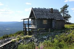 Santa`s cottage in summer. Santa`s secret cottage on Lapland fell top in summer stock photo