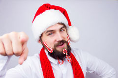 Santa`s decorated beard Stock Photo