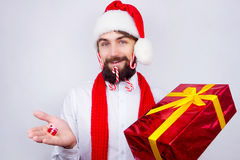 Santa`s decorated beard Stock Images