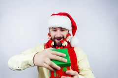 Santa`s decorated beard Royalty Free Stock Images