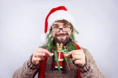 Santa`s decorated beard Royalty Free Stock Image
