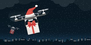 Santa`s drones carrying gifts stock image