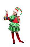 Santa's elf with a Christmas ball. Isolated on a white Stock Photos