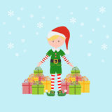 Santa`s Elf icon. On the blue background. Vector illustration Stock Photo