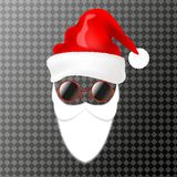Santa`s face element or carnival mask. Hat, beard and glasses. Isolated on transparent background. vector illustration
