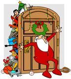 Santa's full closet. This illustration depicts Santa in his long underwear trying to keep items in his full closet from overflowing Royalty Free Stock Photo