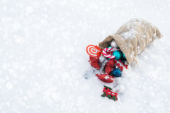 Santa`s gift bag full of Christmas toys. Copy space Stock Photography