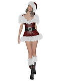 Santa´s girl. 3D rendering illustration of pretty Santa´s girl on white background isolated Royalty Free Stock Photos