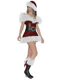 Santa´s girl. 3D rendering illustration of pretty Santa´s girl on white background isolated Royalty Free Stock Photo