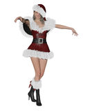 Santa´s girl. 3D rendering illustration of pretty Santa´s girl on white background isolated Royalty Free Stock Image