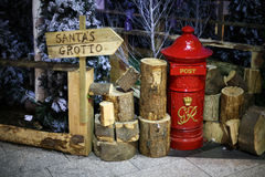 Santa's Grotto. Sign pointing the way to Santa's Grotto in the Victoria Centre Belfast N.Ireland Stock Photos