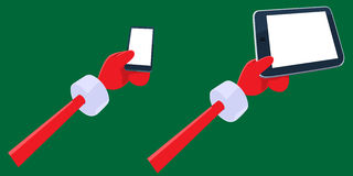 Santa's hands holding smartphone and tablet pc. Cartoon Santa Claus's hands holding smartphone and tablet pc with blank screen. Hands, gadgets, thumbs and Stock Image