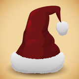 Santa's Hat  on Beige Background, Vector Illustration Stock Photography