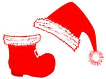 Santa`s hat and boot Royalty Free Stock Photo