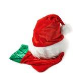 Santa's hat and Christmas stocking isolated Stock Photo