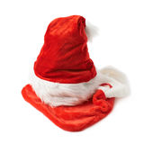 Santa's hat and Christmas stocking isolated Stock Photography