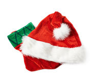 Santa's hat and Christmas stocking  Royalty Free Stock Images