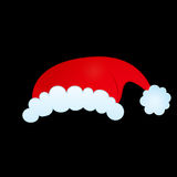 Santa's hat. Hat of santa claus on black background Royalty Free Stock Images