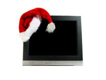 Santa's hat on a computer screen Stock Image