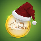 Santa's Hat on Golden Button, Vector Illustration. Red Santa's cap, on golden button and Merry Christmas message Royalty Free Stock Images