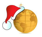 Santa's hat and golden globe Stock Images