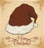 Santa's Hat with Mistletoe in the Edges, Vector Illustration stock photo