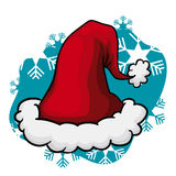 Santa's Hat on Snow Flake Background, Vector Illustration Stock Image