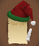 Santa's Hat with Wish List and Feather, Vector Illustration royalty free stock photography