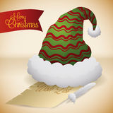 Santa's Hat with Wish List and Feather, Vector Illustration royalty free stock photos