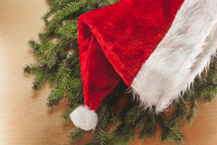 Santa& x27;s hat. On a wooden background Stock Photography