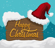 Santa's Hat on Wooden Sign Outdoor, Vector Illustration Stock Photos