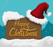 Santa's Hat on Wooden Sign Outdoor, Vector Illustration stock photos