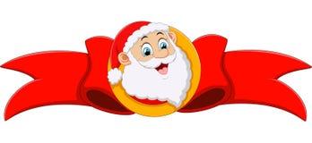 Santa's head and red ribbon Stock Images