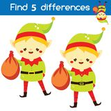 Santa`s helper elf. Find the differences educational children game. Kids activity fun page. Christmas, New Year theme. Santa`s helper elf. Find the differences vector illustration