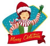 Santa's Helper Saluting you, Vector Illustration stock images