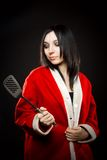Santa's helper with spatula Royalty Free Stock Photography