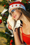 Santa's helper at the tropical beach Royalty Free Stock Photo